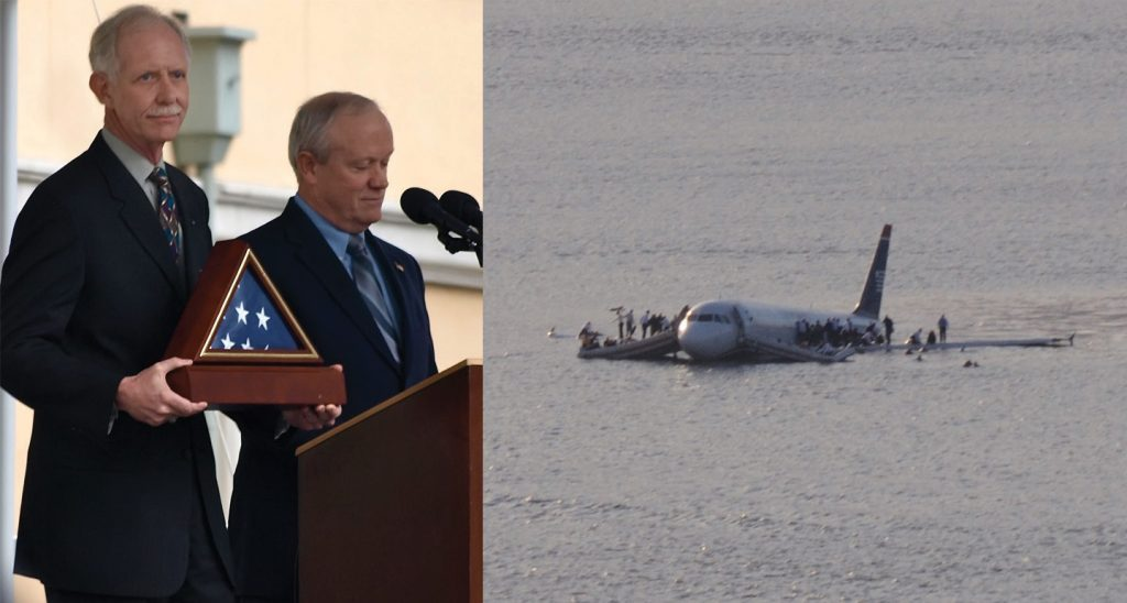 On the left, this picture shows Captain Chesley Burnett Sullenberger receiving an award; on the right, this picture shows an airplane floating on the water with passengers being evacuated.