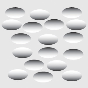 This digital image shows shaded ovals, some look pressed in while others seem to push out.