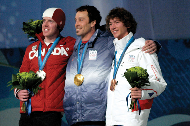 This picture shows gold, bronze, and silver medalists at the Olympic Games.
