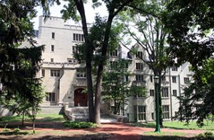 This picture shows Morrison Hall, the building that houses the Kinsey Institute for Research in Sex, Gender, and Reproduction.