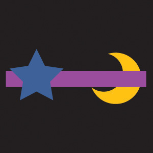 This digital image shows a yellow moon shape behind a purple bar, and a blue star shape is in front of the purple bar.