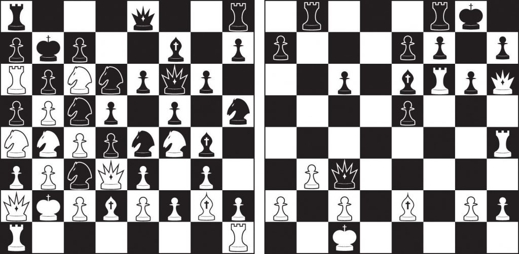 On the left, this diagram illustrates a grouping of chess characters on a chessboard that is not possible according to the rules of the game; on the right, this diagram illustrates a realistic arrangement of chess characters on a chessboard.
