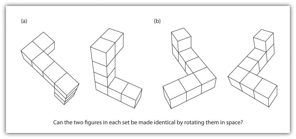 On the left, two diagrams illustrate shapes with seven segments each; on the right, two diagrams illustrate the same shapes as before but at different angles.
