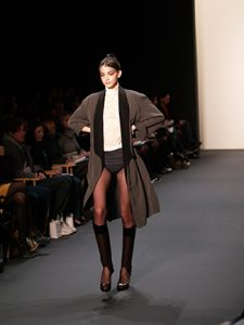 This picture shows a very thin model on the runway.