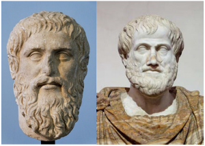On the left, this picture shows a marble portait of Plato; on the right, this picture shows a bust of Aristotle.