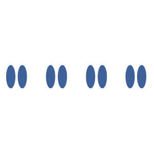 This digital image contains four groups of two blue dots aranged horizontally.