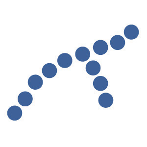 This digital image contains two lines of blue dots coming together to form one line of dots.