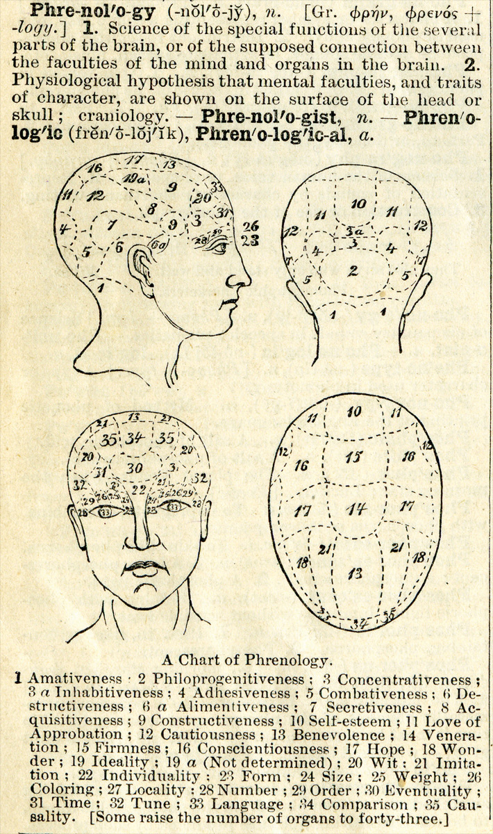 This diagram illustrates a chart of phrenology and provides a definition. Long description available.