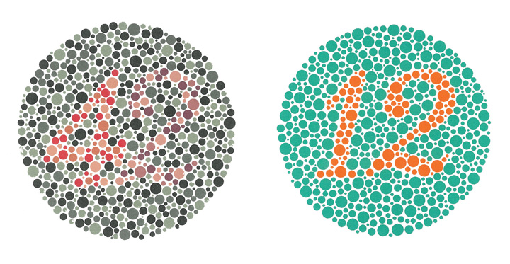 These digital images are examples of an Ishihara colour test, containing the numbers 42 on the left and 12 on the right.