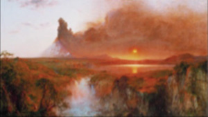 This painting shows a sunset over a field with clouds in the sky.