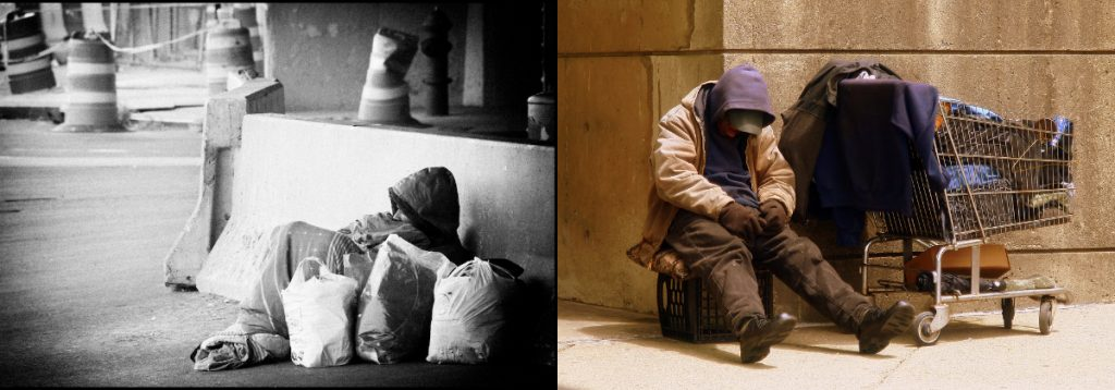 These pictures show homeless people sleeping on the street.