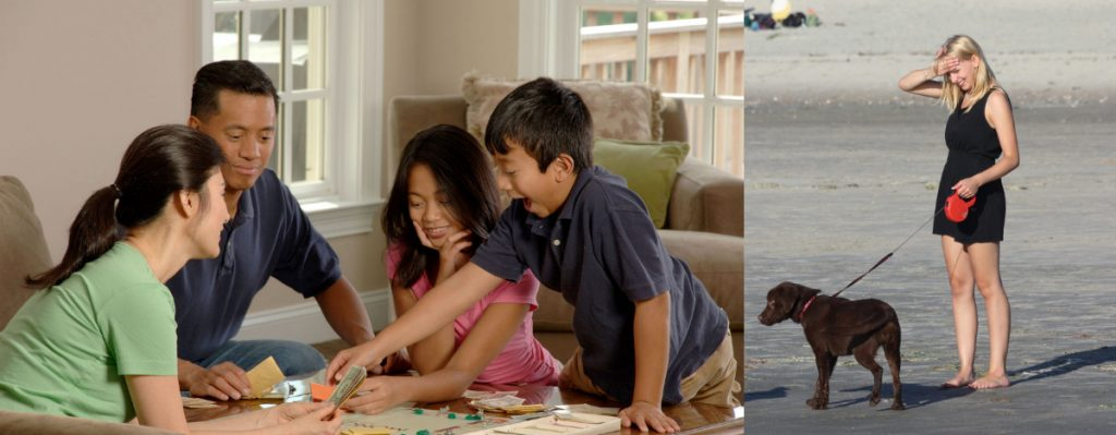 On the left, this picture shows an Asian family playing a board game; on the right, this picture shows a blonde woman standing alone with her dog.