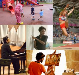At top left, this picture shows a clown playing with children at a playground; at top right, this picture shows a track-and-field athlete jumping; at bottom right, this picture shows a visual artist painting; at bottom left, this picture shows a performing artist playing a piano; and in the centre, this picture shows a teacher pointing at a whiteboard in a classroom.