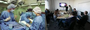 On the left, this picture shows doctors in an operating room; on the right, this picture shows people in a staff meeting.