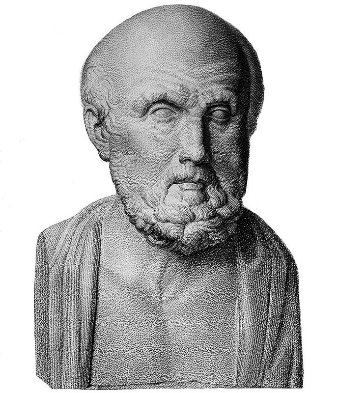 This diagram illustrates a portrait of Hippocrates.