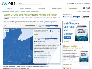 This picture shows a screenshot of the website WebMD offering information about cold and flu season.