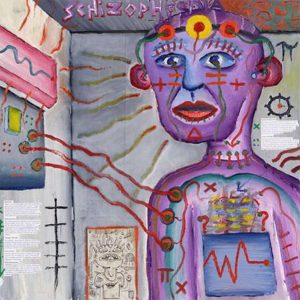 This picture shows a painting by Craig Finn, who suffers from schizophrenia, depicting hallucinations. The person at the center of the painting is connected by wires to some sort of electrical control panel mounted on the wall of the room in which he is standing. The subject is wearing a headband across his forehead arrayed with several brightly colored discs, and his chest is similar to the control panel on the wall. Colourful, wavy lines emanate from the subject's body, and symbols such as +, Δ, =, and π appear on his face and body.