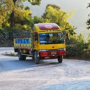 This picture shows a colourful transport truck driving up a hill.