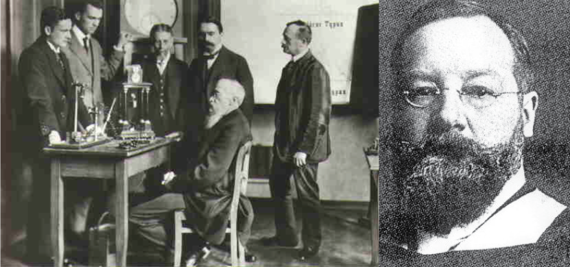 On the left, this picture shows Wilhelm Wundt seated at a desk with five other men standing; on the right, this picture shows a portrait of Edward Titchener.