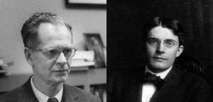 On the left, this picture shows a portait of B. F. Skinner; on the right, this picture shows a portait of John B. Watson.